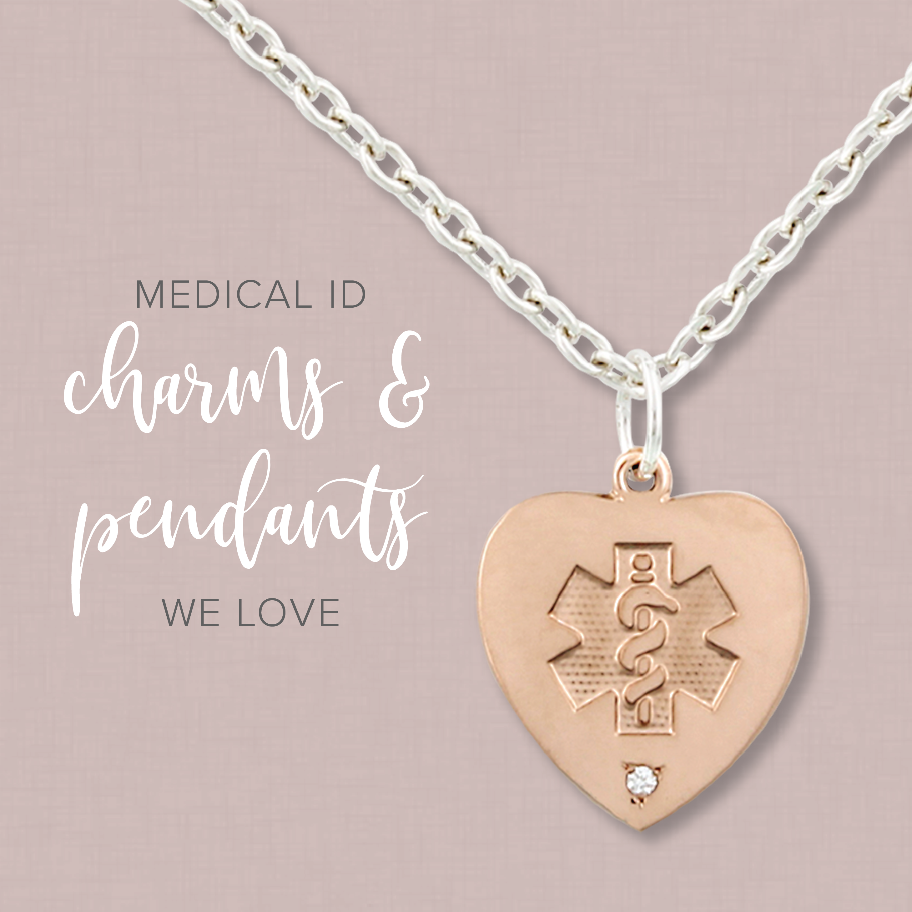 Heart style medical id charms and pendants we love the health room to celebrate american medical id is offering discounts on all heart style medical ids aloadofball Images